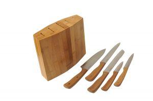 Комплект 5 ножа от въглеродна стомана с бамбукова стойка (BAM29)
