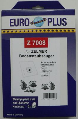 Торби за прахосмукачки ZELMER Cobra, Elf, Explorer, Flip - 4 бр. (Europlus Z 7008; отговарят на код TONI: Z14)